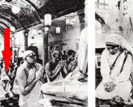 Fotogrāfijā ir redzams, ka Māte Terēze ir nometusies ceļos Budas statujas priekšā Žēlsirdības Misionāru 25 gadu jubilejas pateicības ceremonijā, kā arī tās pašas ceremonijas pietuvināts foto 1975.gada 7.oktobrī.